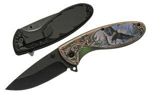 Spring-Assist Folding Knife | Rite Edge Black Bear Stainless Steel Blade