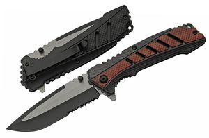 Spring-Assist Folding Knife | Rite Edge Serrated Blade Black Brown EDC Tactical