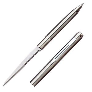 Pen Knife | Hidden Serrated Blade Functional Ink Pen Letter Opener Silver
