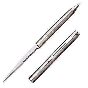 Pen Knife | Hidden Serrated Blade Functional Ink Pen Letter Opener Silver