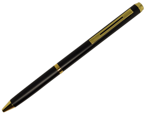 Pen Knife | Functional Ink Pen - Black/Gold - Serrated Stainless Steel Blade