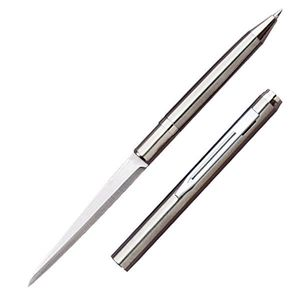 Pen Knife | Hidden Plain Blade Functional Ink Pen Letter Opener Silver