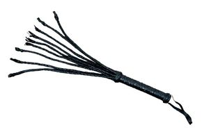 Black Leather Cat-O-Nine Tails Whip