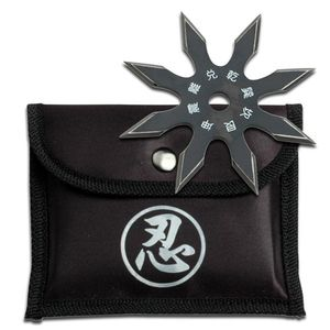 Single Black Throwing Star Eight-Point Chinese Symbol Ninja Shuriken Knife