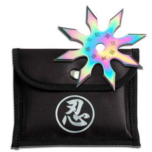 Single Rainbow Throwing Star Eight-Point Chinese Symbol Ninja Shuriken Knife