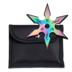 Single Rainbow Throwing Star Six-Point Chinese Dragon Symbol Ninja Knife