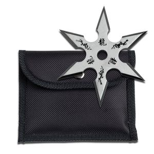 Single Silver Throwing Star Six-Point Chinese Dragon Symbol Ninja Knife