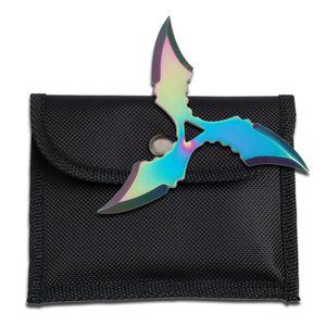 Single Rainbow Throwing Star Three-Point Chinese Symbol Ninja Shuriken Knife