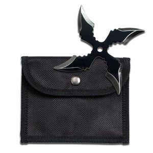 Single Black Throwing Star Four-Point Chinese Symbol Ninja Shuriken Knife