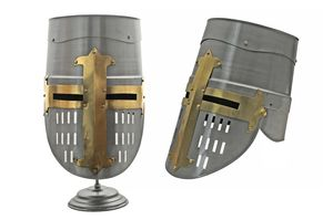 Medieval Helmet | Carbon Steel Templar Knight Crusader Great Helm + Stand