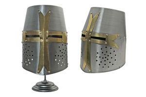 Medieval Helmet | Carbon Steel Templar Knight Crusader Barrel Helm + Stand