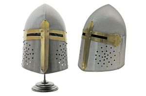 Medieval Helmet | Carbon Steel Templar Knight Crusader Sugarloaf Helm + Stand