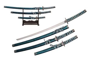 Japanese Sword Set Blue Black Silver Samurai Katana Tanto 3 Pc Set Display Stand