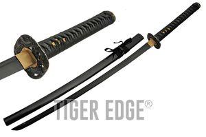 Japanese Samurai Sword Black Stealth Carbon Steel Blade Ninja Katana + Scabbard