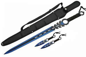 Fantasy Sword | Blue Black Blade Double Edge Blade + 2 Throwing Knives + Sheath