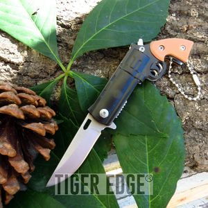 Spring-Assist Folding Pocket Knife | Brown + Black Revolver Pistol Mini Keychain