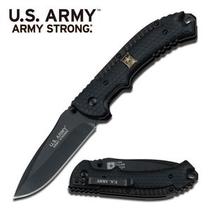 Us Army Edc Black Spring Assist Folding Knife Pocket Men'S Gift Father'S