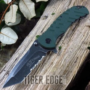 Us Army Dark Green G10 Spring Assisted Serrated Tanto Pocket Knife Flipper