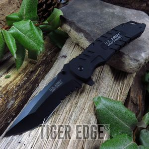 US Army Black G10 Spring Assisted Tactical Serrated Folding Pocket Knife EDC