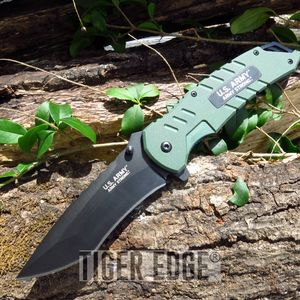 US Army Green G10 Spring Assisted Military Tactical Folding Pocket Knife EDC