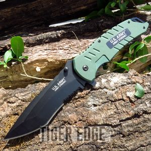 Us Army Green G10 Spring Assisted Serrated Tactical Folding Pocket Knife Edc