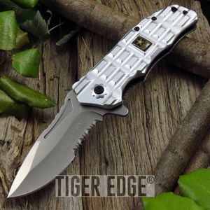Us Army Silver Rugged Handle Spring Assist Folding Pocket Knife Men'S Gift