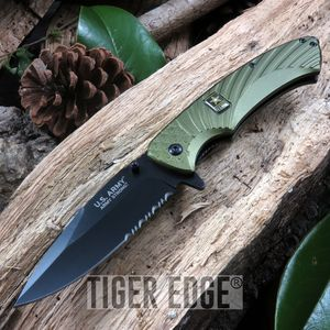 Officially Licensed Us Army Green Tactical Spring-Assisted Folding Knife
