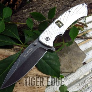 Officially Licensed Us Army White Tactical Spring-Assisted Folding Knife