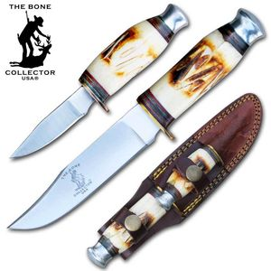 Hunting Knife | Bone Collector 2-Pc. Fixed-Blade Skinner Set + Leather Sheath