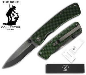 Folding Pocket Knife | Bone Collector Ceramic Blade - Black/Green Metal Handle