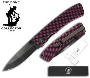 Folding Pocket Knife | Bone Collector Ceramic Blade - Black/Pink Metal Handle