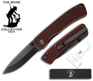 Folding Pocket Knife | Bone Collector Ceramic Blade - Black/Red Metal Handle
