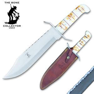 Bowie Knife Bone Collector Bone Handle Stainless Steel Blade Full Tang + Sheath
