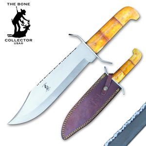 Bowie Knife Bone Collector Stainless Steel Blade Full Tang Bone Handle + Sheath