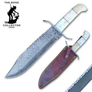 Bowie Knife | Bone Collector Bone Handle Damascus Steel Blade Full Tang + Sheath