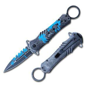 Spring-Assist Folding Knife | Gray Stone Blue Skull Punisher Stiletto Blade