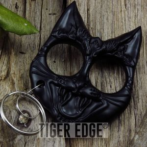 Black Cat Hard Nylon Fiber Knuckle Defense Keyring
