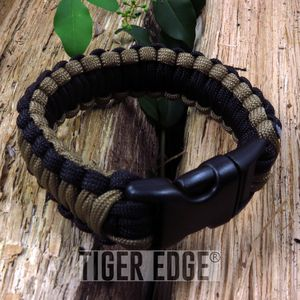 Black/Brown Paracord Survival Bracelet 300 lb., 7
