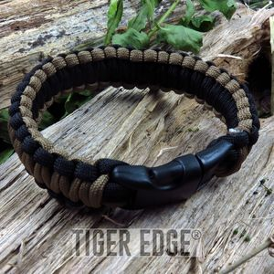 Black/Brown Paracord Survival Bracelet 300 lb., 9