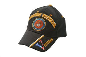 Usmc Marine Veteran Black Baseball Cap - One Size Fits All