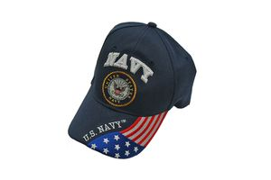 Baseball Cap | Blue Embroidered 'US Navy' American Flag - One Size Fits All