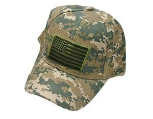 Camo Military Tactical American Flag Baseball Cap Hat - One Size Fits All