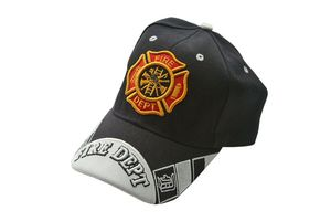 Black Fire Department Firefighter Baseball Cap Hat - One Size Fits All