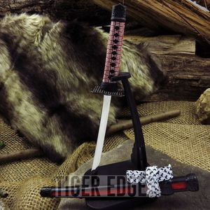 Red Mini Japanese Samurai Sword Letter Opener Gift w/ Display Stand