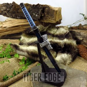 Blue Mini Japanese Samurai Sword Letter Opener Gift w/ Display Stand