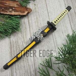 Yellow Mini Japanese Samurai Sword Letter Opener Gift w/ Display Stand