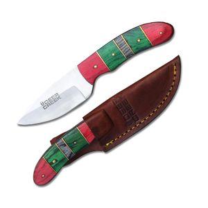 Hunting Knife Deer Creek Red/Green/Gray Wood Full Tang Skinner + Leather Sheath
