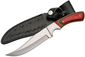 Fixed-Blade Hunting Knife | Multi-Color Wood Handle Full Tang Clip Point Skinner