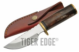 Hunting Knife | Fixed-Blade Brown Bone Handle Skinner + Leather Sheath