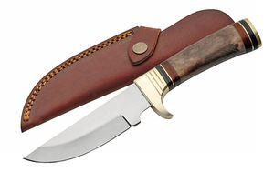 Fixed-Blade Hunting Knife | Brown Bone Full Tang Silver Skinner Blade + Sheath
